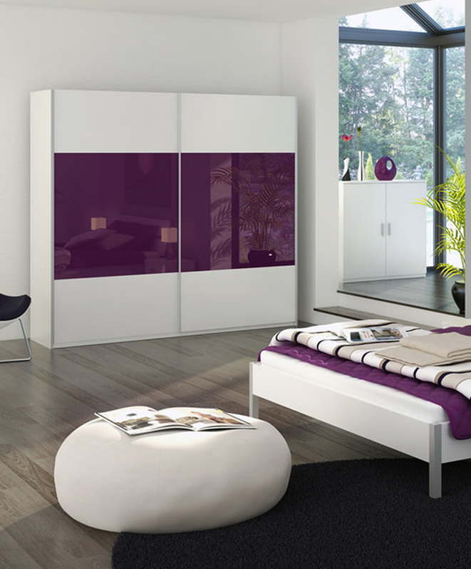 grey-bedroom-with-glass-sanctuary-and-purple-and-white-decor